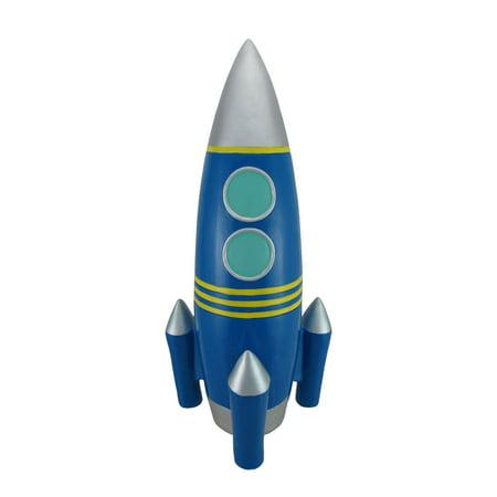 Big blue rocket ship coin bank 18 in - Rocket piggy bank ...