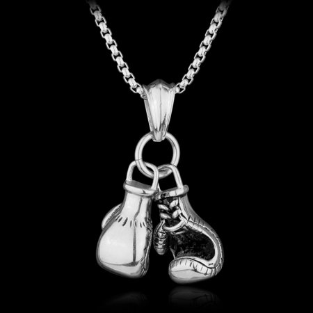 KABOER Gold/Silver/Black Plated Boxing Glove Pendant Chain Necklace Mens 20