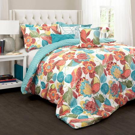 layla comforter 7 piece set orange and blue. Black Bedroom Furniture Sets. Home Design Ideas
