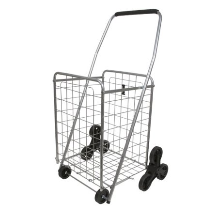 Helping Hand Stair Climber Folding Shopping Cart with Wheels and Handle, Silver Capacity Ultra Lite Folding Cart