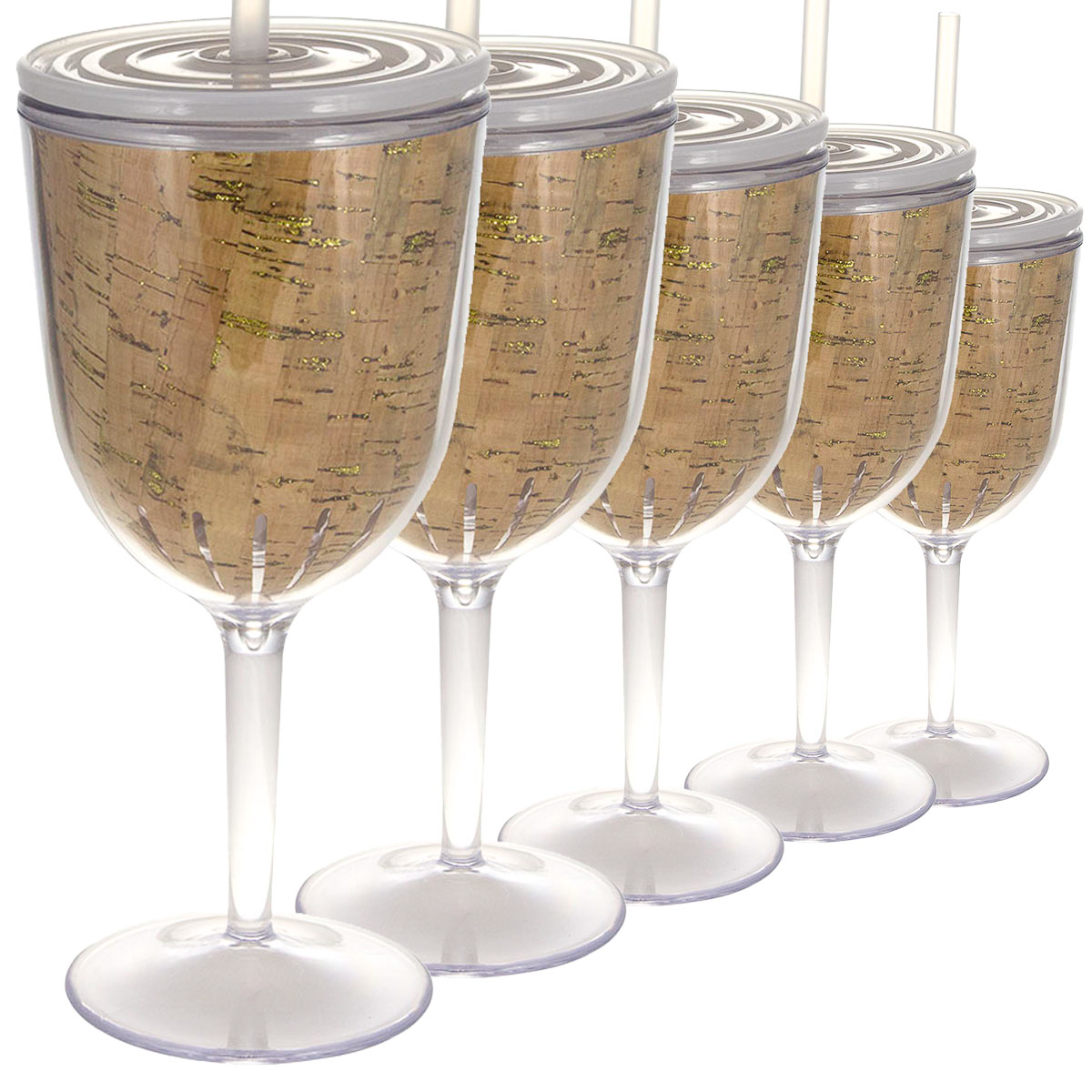 6ct Glitter Cork 13oz Wine Glasses With Lids Straw Double Wall Insulated Plastic