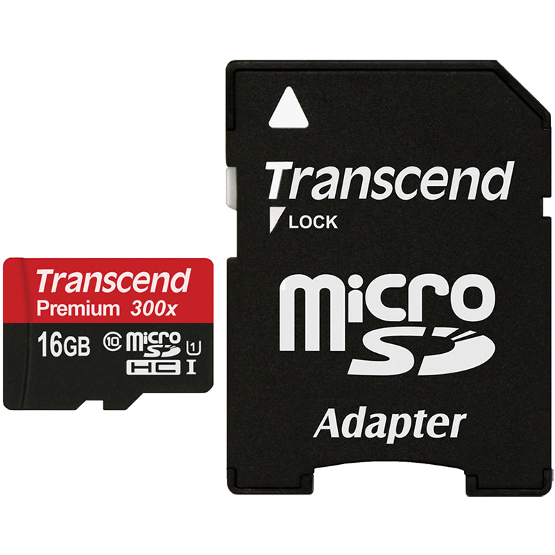 Transcend 16GB microSDHC 300x UHS-1 Class 10 Memory Card with Adapter