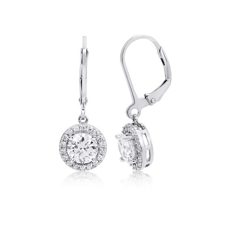 Halo Round Cubic Zirconia Dangle Earring made with Zirconia from - Dangle From Reno 911
