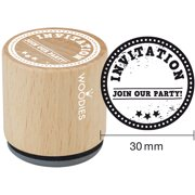 """Woodies Mounted Rubber Stamp 1.35""""-Invitation Join Our Party"""