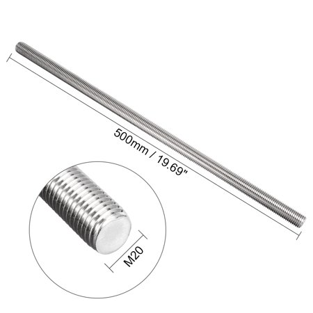 M20 x 500mm Fully Threaded Rod 304 Stainless Steel Right Hand Threads - image 1 of 4