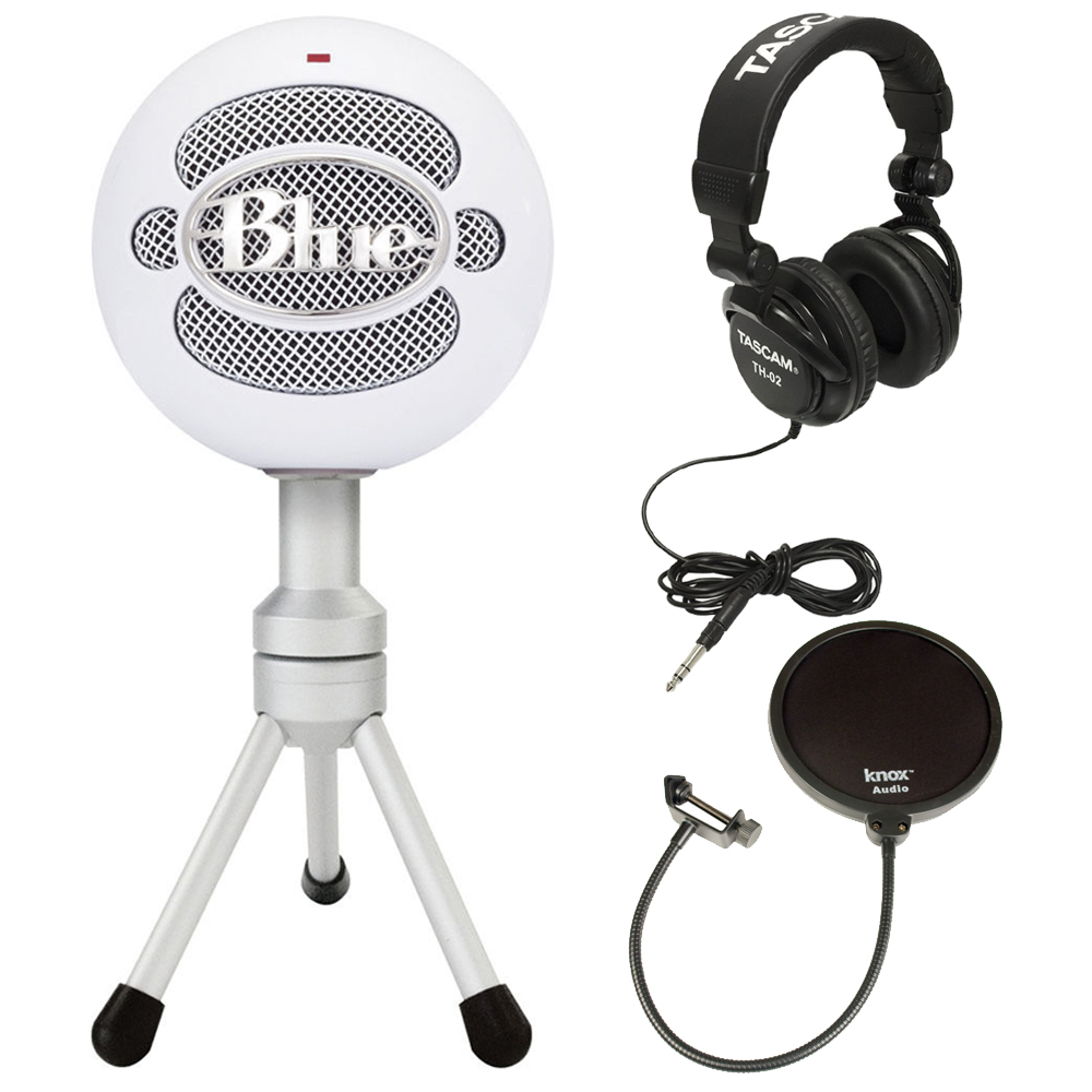 Blue Microphones Snowball Ice Mic w  Knox Pop Filter & Headphones by Blue Microphones