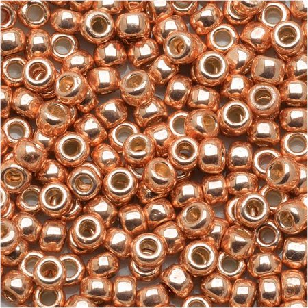 Toho Round Seed Beads 8/0 #PF551 - Permanent Finish Galvanized Rose Gold (8g)