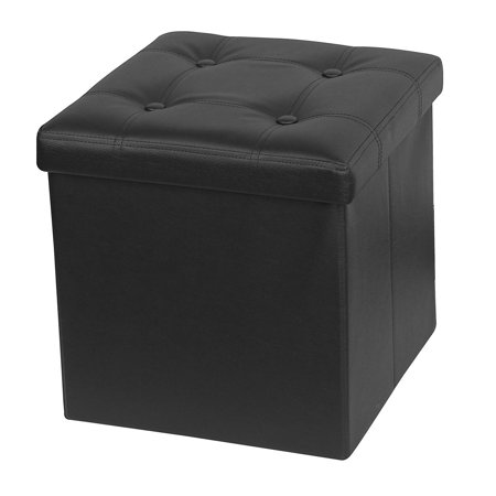 Otto & Ben 15 Inch Button Design Memory Foam Folding Storage Ottoman Bench with Faux Leather ()