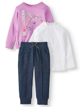 Garanimals Toddler Girls' Sweatshirt, Mock Neck Top and Joggers, 3-Piece Set