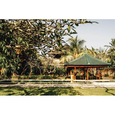 LAMINATED POSTER Oriental Garden Pavilion Backyard Tropical Poster Print 24 x 36 ()