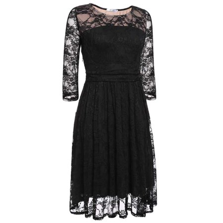 Women Crew Neck Long Sleeve   Midi Dress Floral Lace  Swing Cocktail Party Dress
