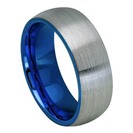 Men Women 8MM Comfort Fit Tungsten Carbide Wedding Band Domed Blue Inside Brushed Gun Metal Tone Ring (7 to 12)
