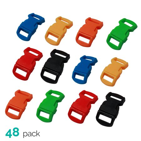 (48 Pack) Paracord Bracelet Buckle Set Assorted Colors 15mm .5 (Two Color Paracord Bracelet With Buckle Instructions)
