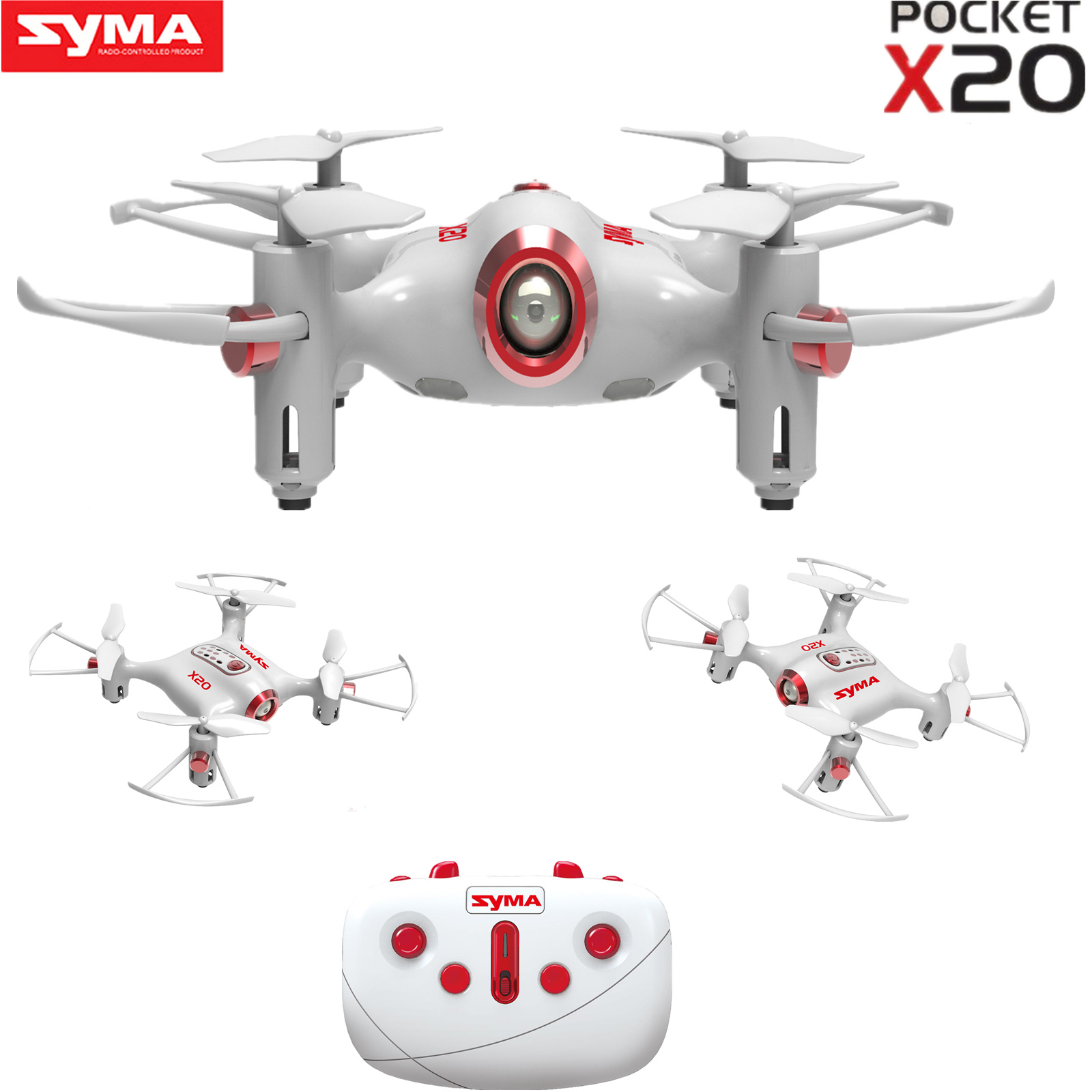 Color White Syma X12S Nano 6-Axis Gyro 4CH RC Quadcopter with Protection Guard