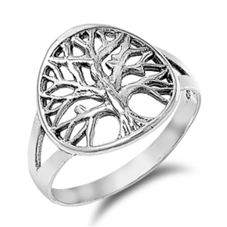 Family Tree Plain .925 Sterling Silver Ring Sizes 4-10 ()