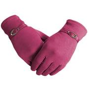 Women Warm Touchscreen Gloves Fleece Lined Windproof Winter Gloves (Black)