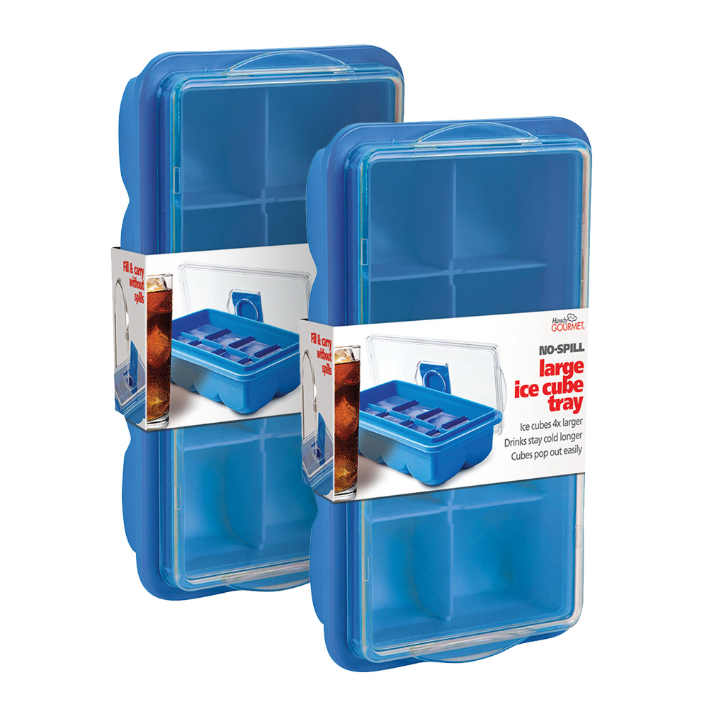 No-Spill Extra Large Ice Cube Tray with Lid Cover - Set of 2