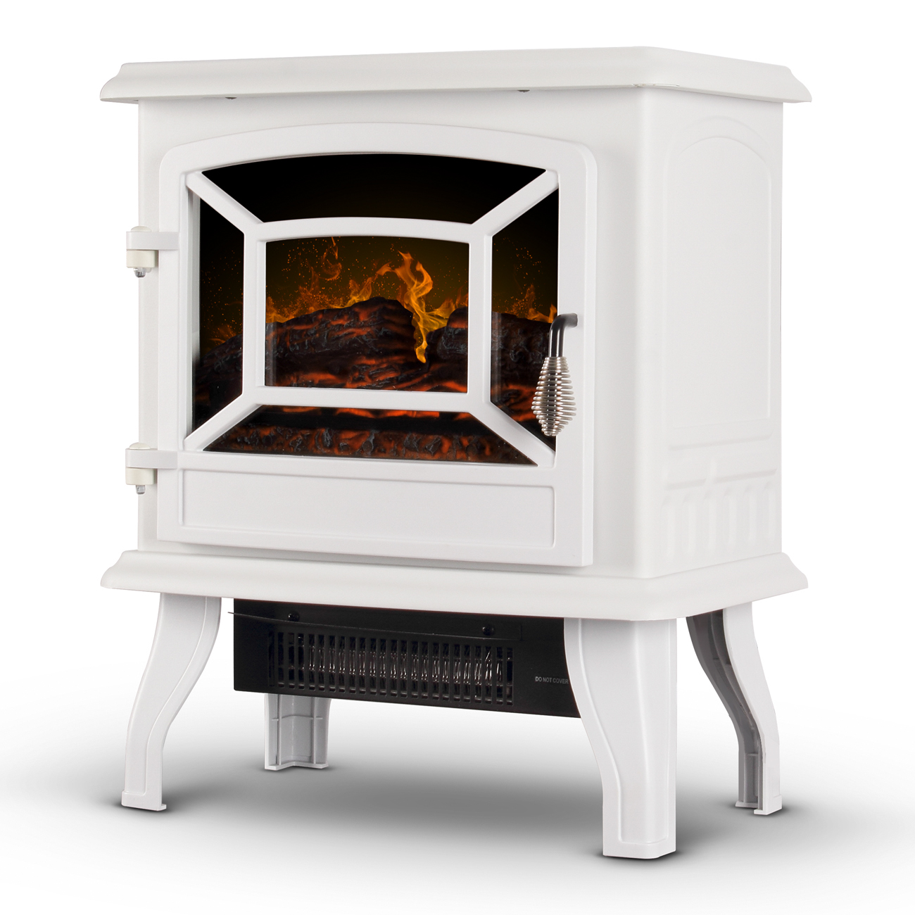 "DELLA 17"" Adjustable Flame Brightness Thermostat Fireplace Stove Heater 1400-Watts, White"