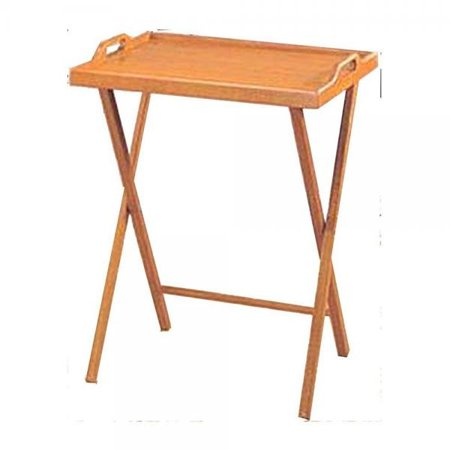 Essential Home Oak Finish Folding Tv Tray Table Snack Drinking Portable Desk