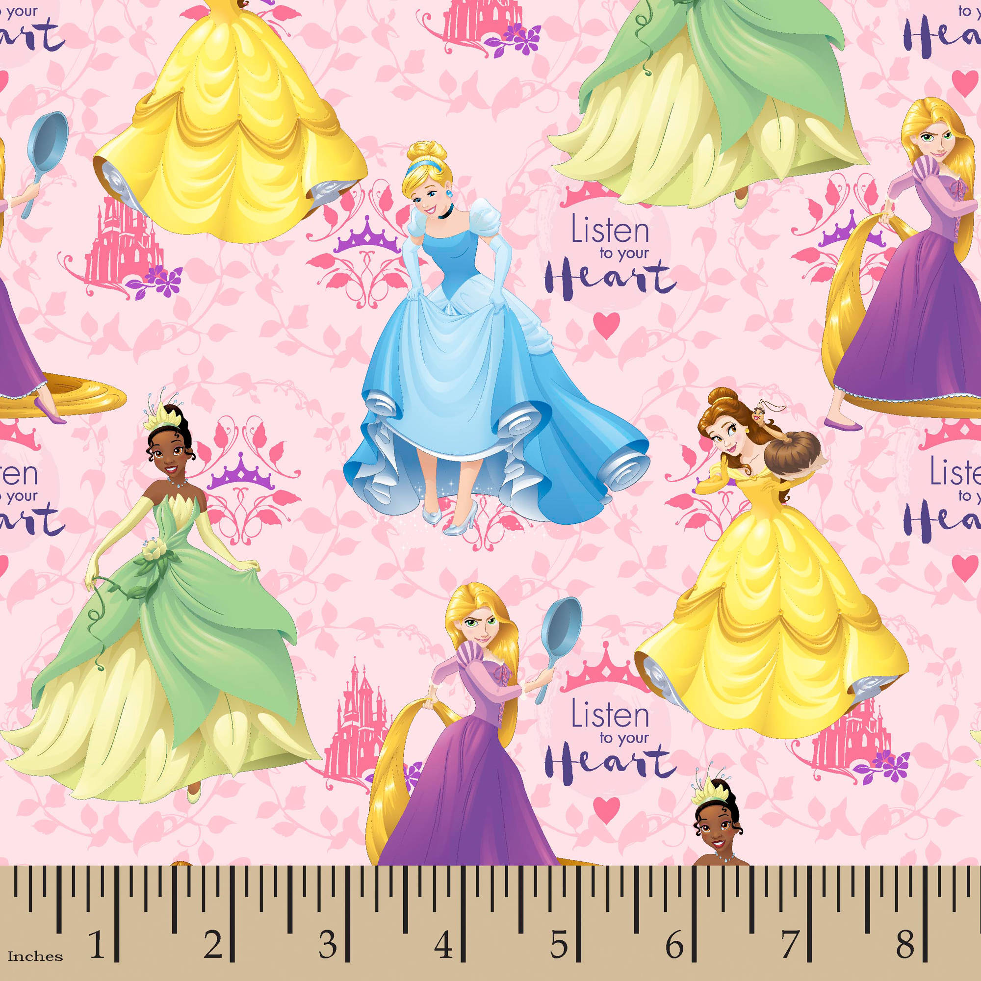 "Disney Princess Listen To Your Heart, Pink, 100 Percent Cotton, 43/44""W, Fabric by the Yard"