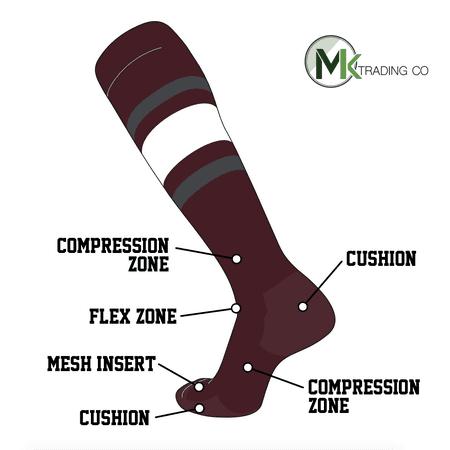 9af9eb5a15e TCK Socks - TCK Elite Baseball Football Knee High Striped Socks (E) Maroon