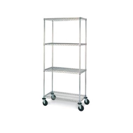 Olympic 18 in. Deep 4-Shelf Mobile Cart - Chrome (24 in. W x 59 in. H)