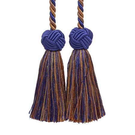 Ultramarine Blue, Tan, Double Tassel / Tassel Tie with 3.5 inch Tassels, Baroque Collection Style# BCT Color: NAVY TAUPE - 5817
