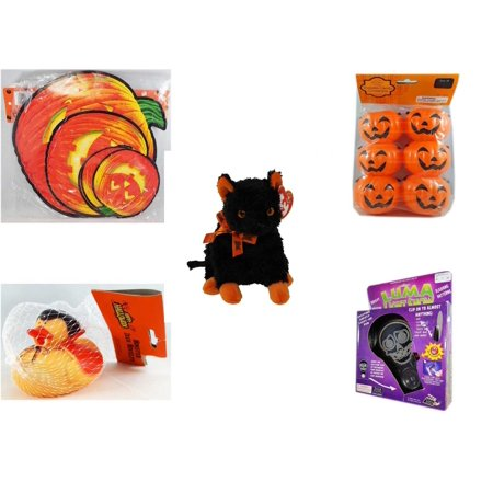 Halloween Fun Gift Bundle [5 Piece] - Classic Pumpkin Cutouts Set of 9 - Party Favors Pumpkin Candy Containers 6 Count - Ty Beanie Baby