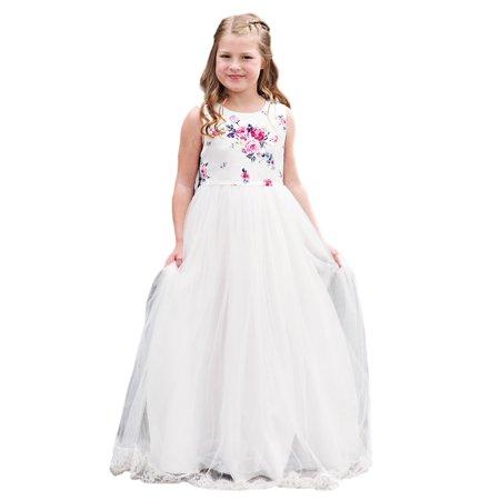 Little Girls White Pink Bow Empire Waist Floor Length Flower Girl Dress ()