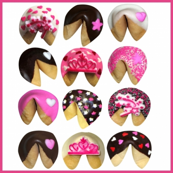 Birthday Princess Chocolate Dipped Fortune Cookies by