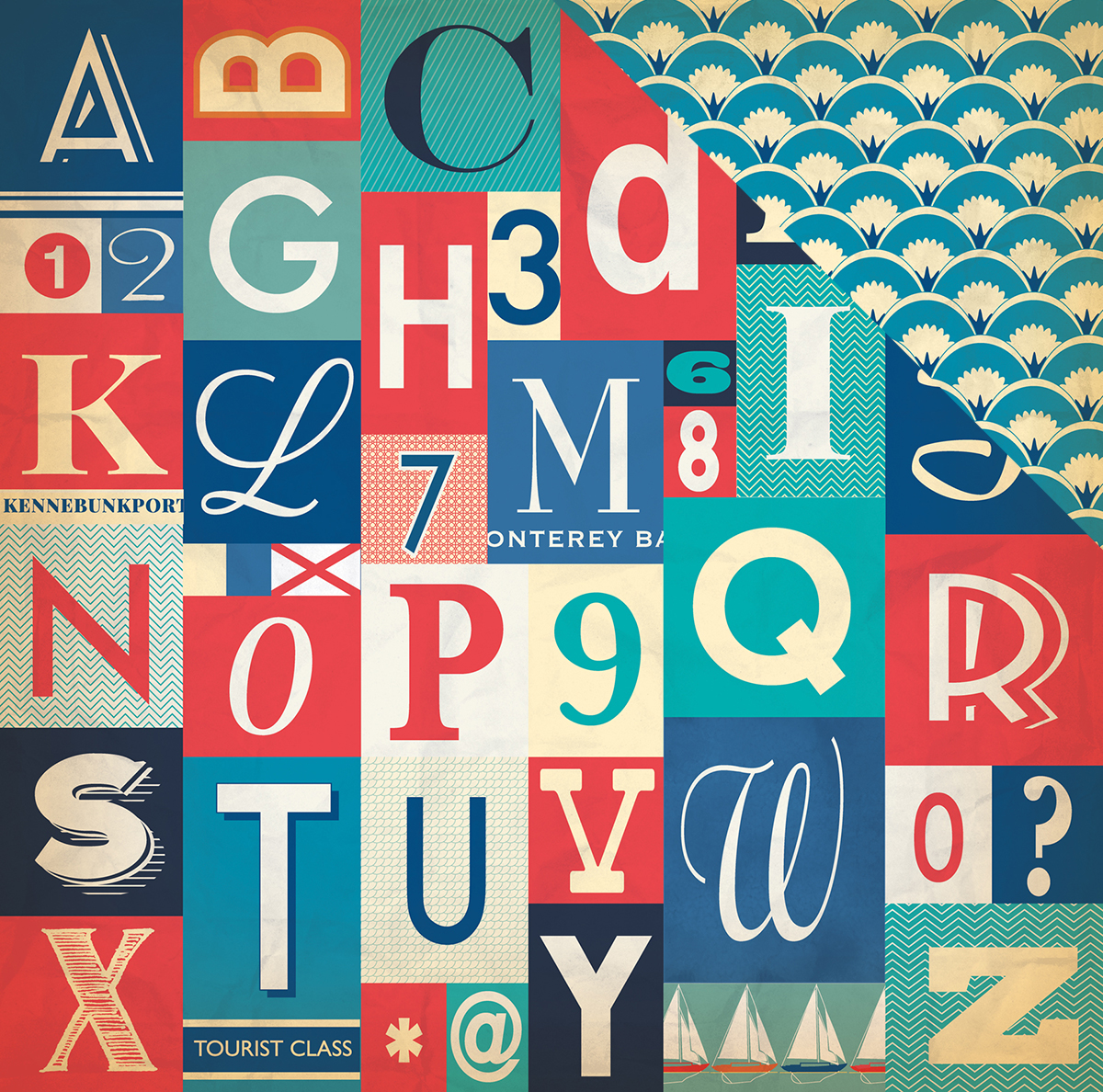 "Yacht Club Double-Sided Cardstock 12""X12""-Alphabet Letters"