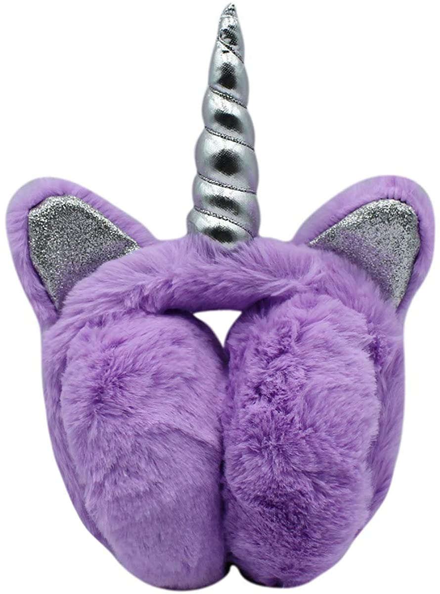 Women Girls Fuzzy Faux Fur Unicorn Ear Muffs Foldable Winter Ear Warmer with Glitter Sequins Cat Ears for Kids Teens