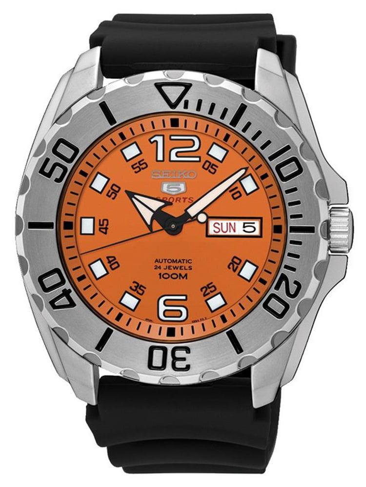 Seiko Men's Seiko 5 44mm Black Silicone Band Steel Case Automatic Orange Dial Analog Watch SRPB39K1