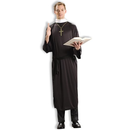 Religious Priest Black Catholic Robe Adult Male Pastor Costume - Catholic Priest Costume