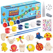 Ackitry 12 Wooden Magnet Creativity Arts & Crafts Painting Kit for Kids, Decorate Your Own Painting Gift, Family Activity Project Birthday Gift Favors for Boys Girls