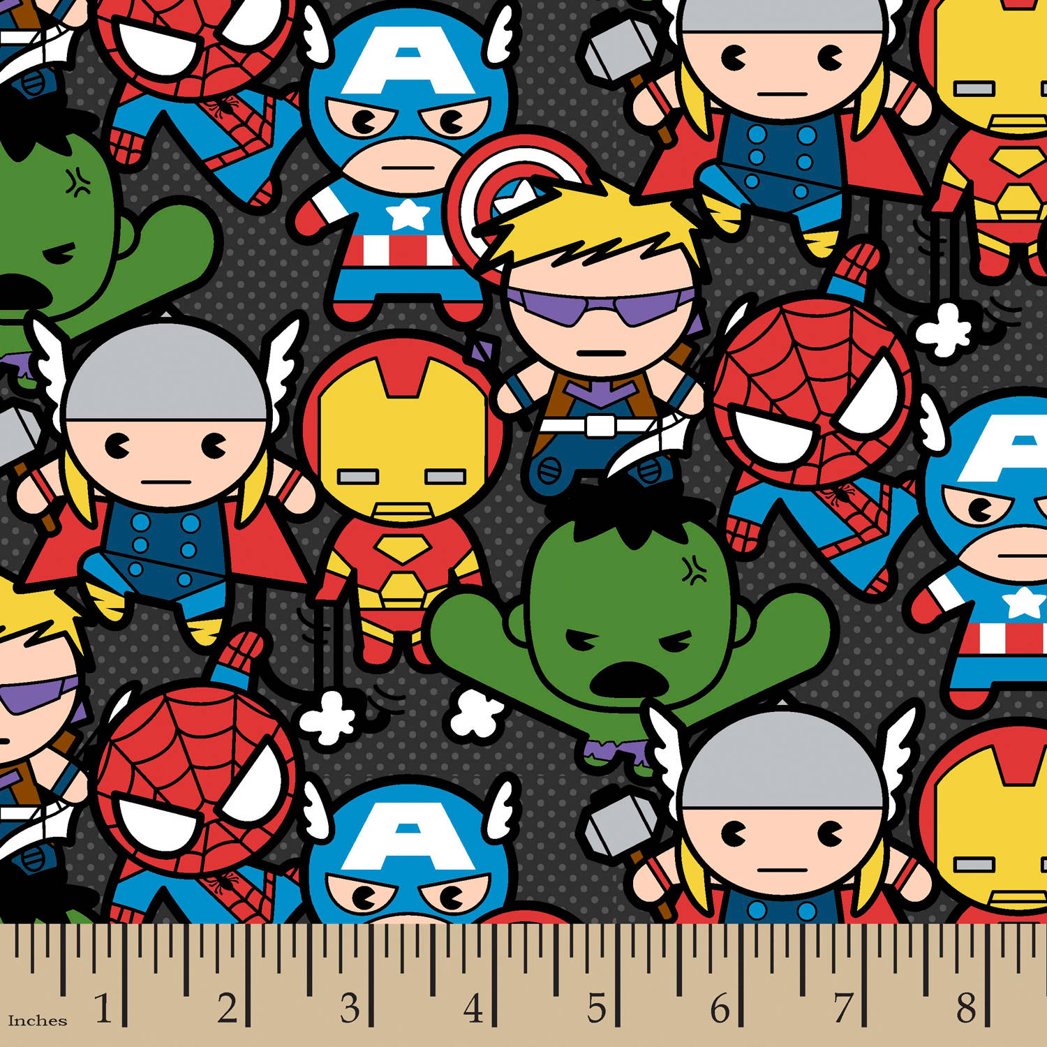 Marvel Kawaii Packed Characters, Black,