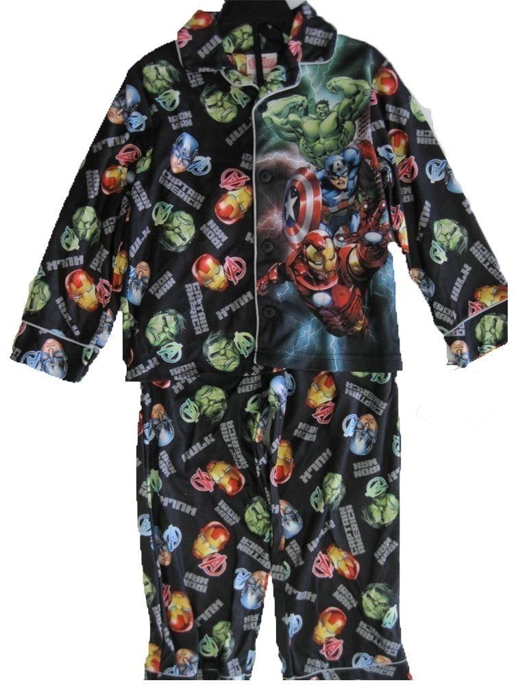 Boys Black Cartoon Inspired Print 2 Pc Pajama Set 8-12