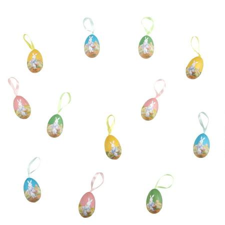 Mr Easter Bunny Hanging Foam Easter Egg Ornaments, Set of 12 - Bunny Ornaments