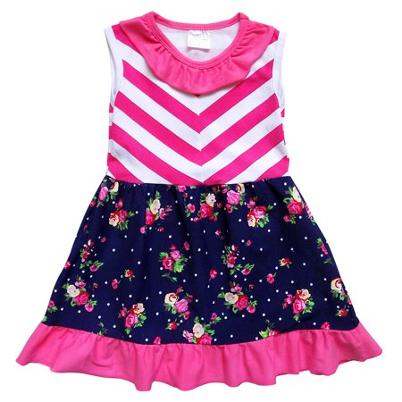 So Sydney Toddler Girls Stretch Cotton Boho Mixed Fabric Spring & Summer Vacation Dress