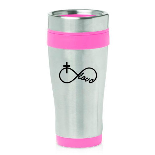 16oz Insulated Stainless Steel Travel Mug Infinity Love Cross Christian (Hot Pink)