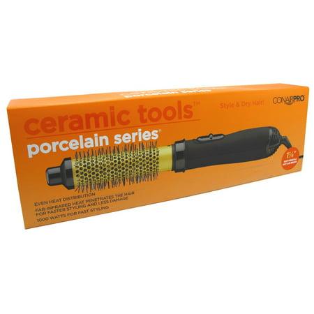 Conair Pro Ceramic Tools Porcelain Series Soft-Bristle Hot Air Brush, 1 1/4 Inch