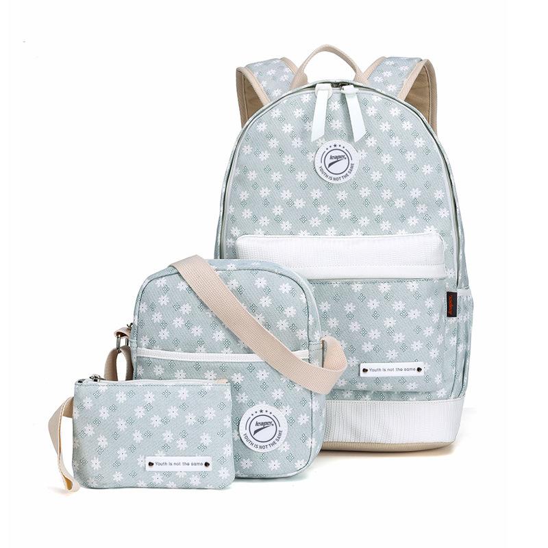 Smarit Set 3 Floral Canvas Backpack Casual Bookbags School Backpacks Bags Shoulder Wallet Bag for Girl by