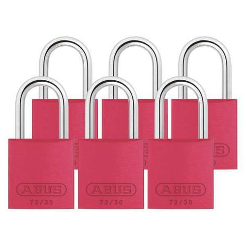 ABUS 72/30 KA X 6 Keyed Padlock,Medium,Red,U-Shape,PK6