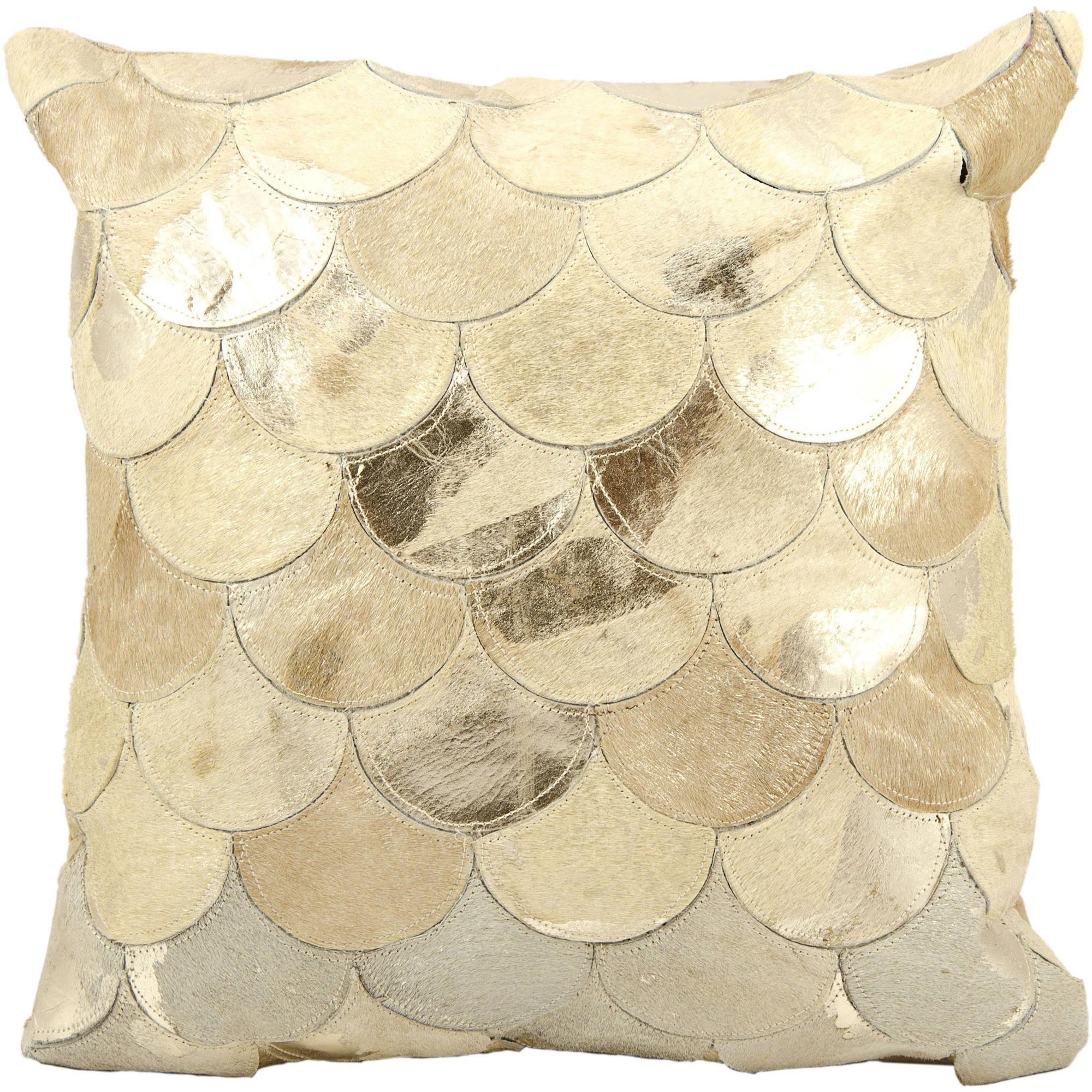 Nourison Natural Leather Hide Metalic Balloons Decorative Pillow