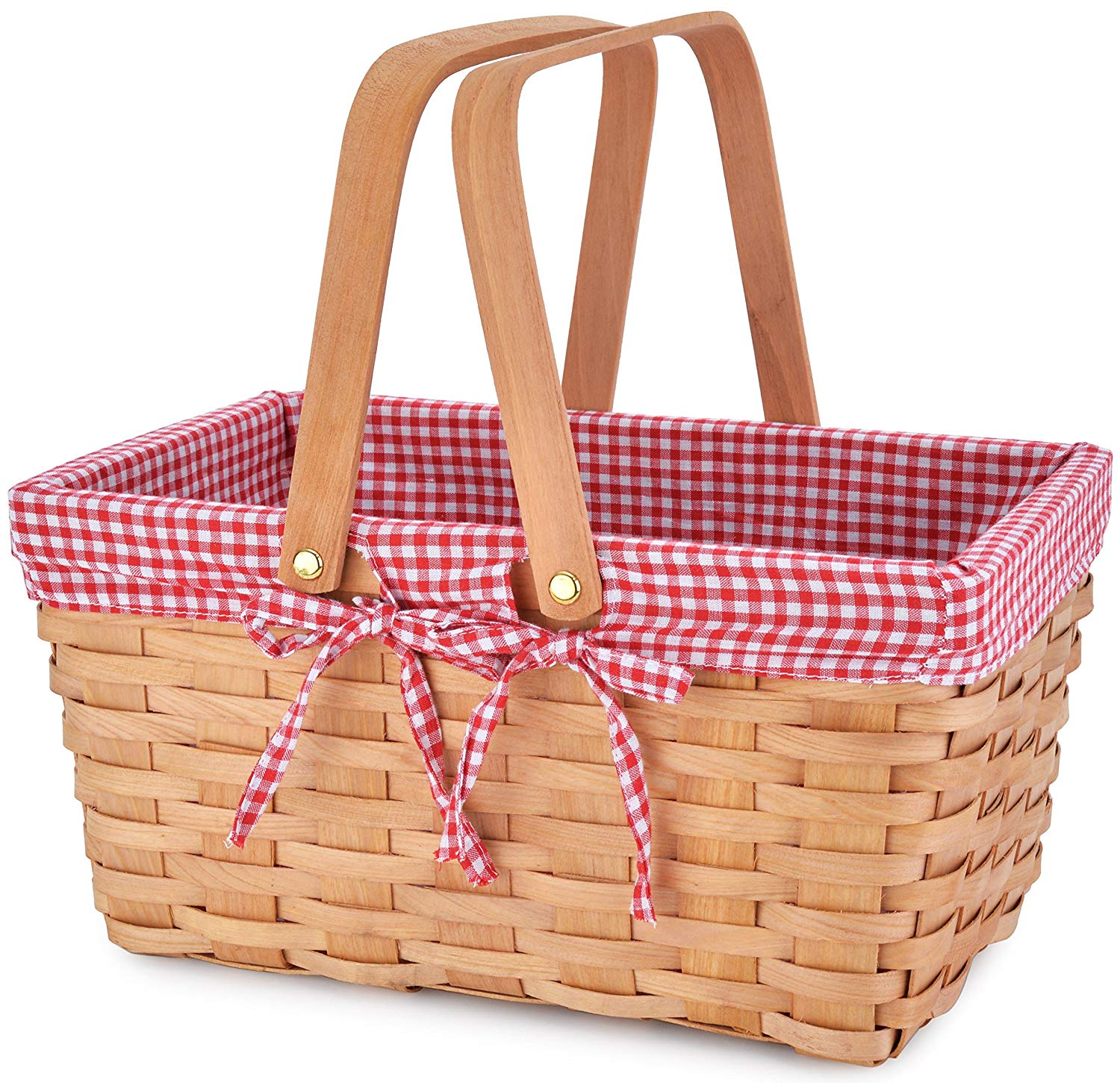 HOT-Pink, Small Wood Chip Basket with Handle