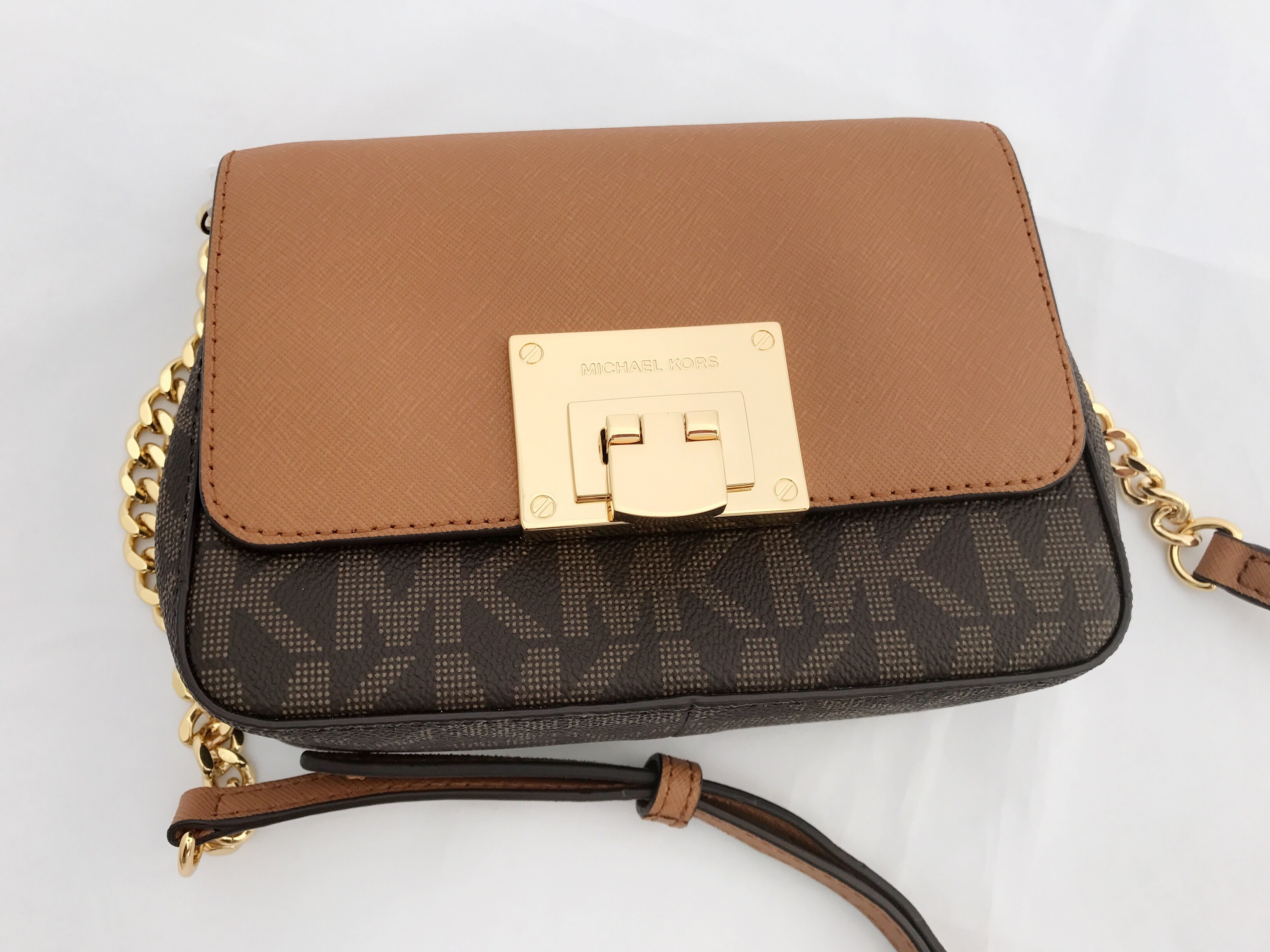 Nwt Michael Kors Tina Mk Signature Small Mini Crossbody Bag Brown Acorn Flap