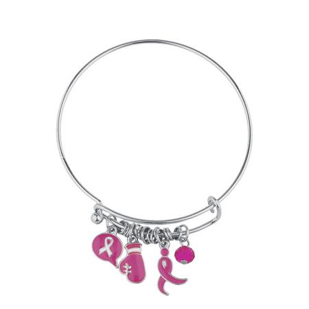 Lux Accessories Silvertone Pink Breast Cancer Awareness Ribbon Bangle Bracelet Cancer Awareness Rubber Bracelets