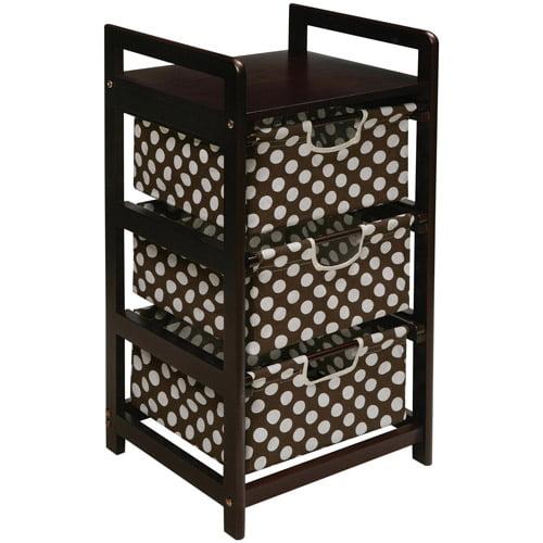 Badger Basket 3-Drawer Hamper/Storage Unit, Espresso Finish with Brown Polka Dot Print Drawers