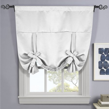 Ava Blackout Weave Tie Up Shade With Rod Pockets Curtains for Small Window ( 46