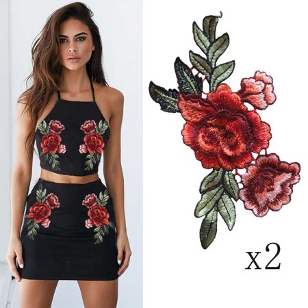 2PC DIY Embroidered Roses Floral Collar Sew Patch Sticker Applique Badge